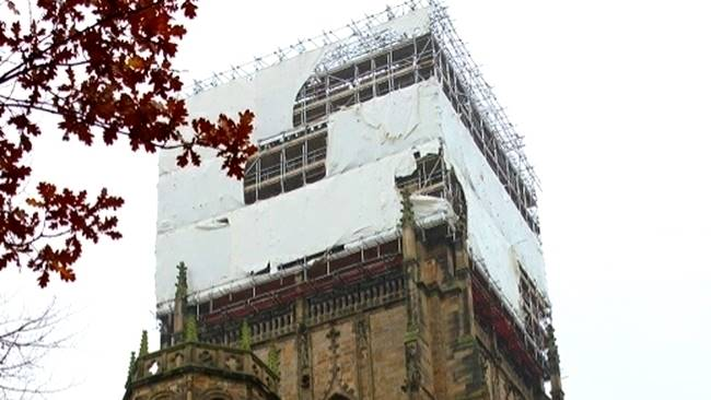 Durham Cathedral's Central Tower unwrapping