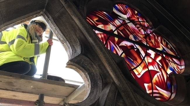 Installation of Durham Cathedral's newest stained glass window begins