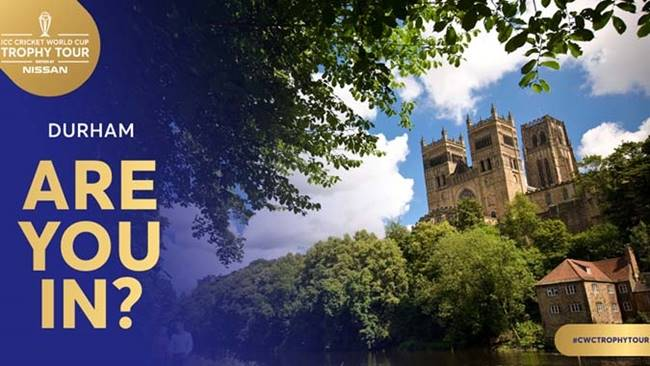 The ICC Cricket World Cup Trophy Tour is coming to Durham Cathedral