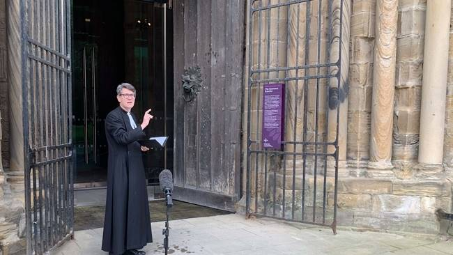 Durham Cathedral is blessed by the Dean of Durham ahead of reopening for private prayer this morning