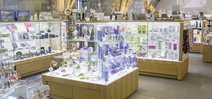 Cathedral shop in the undercroft display cases