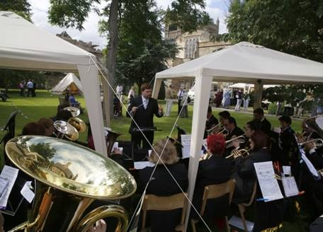 Brass band play at a summer garden party