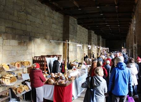 A christmas market in the cloister of Durham Cathedral