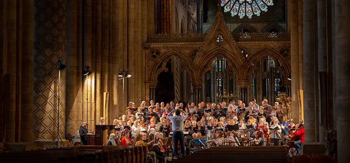 A concert in the nave of Durham Cathedral