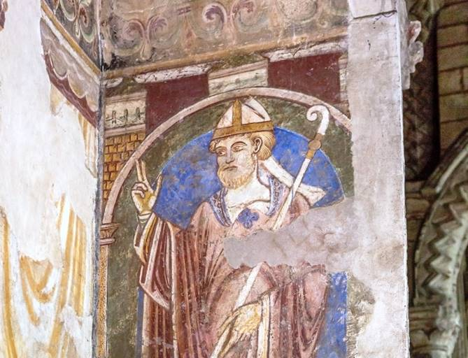 Wall painting of St Cuthbert at Durham Cathedral