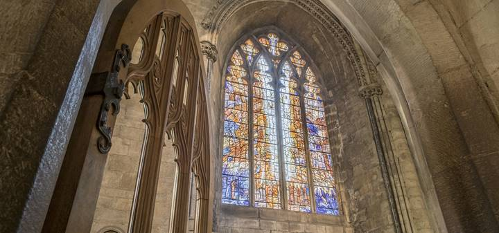 Cathedral architecture and the colourful Transfiguration Window