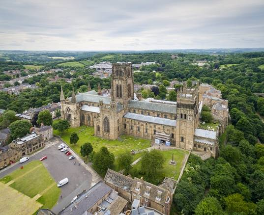 An aerial view of Durham Cathedral during summer