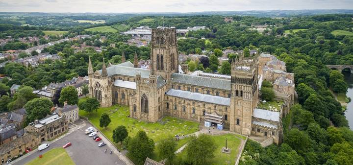 durham cathedral central tower aerial photo