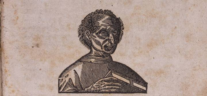 An engraved portrait from the title page of a 1635 book of Machiavelli's works