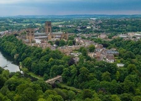 Durham Cathedral and the peninsula from the air