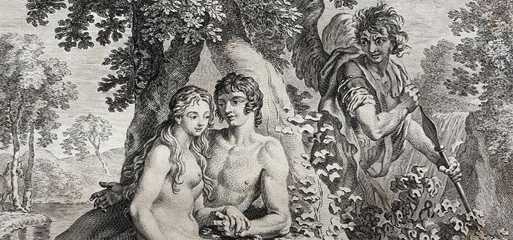 An illustration from a copy of Milton's Paradise Lost printed in 1749.