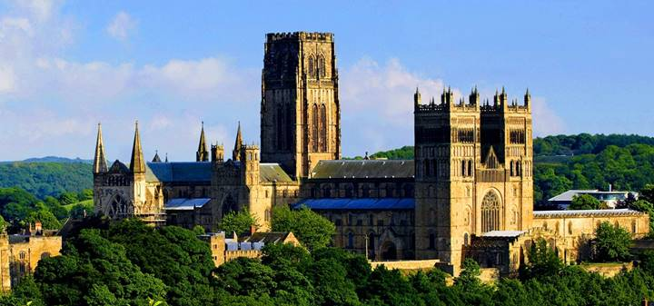 Durham Cathedral from a distance during summer
