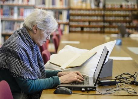 A woman doing archive research