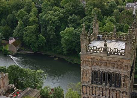A Cathedral tower with the river wear in the background