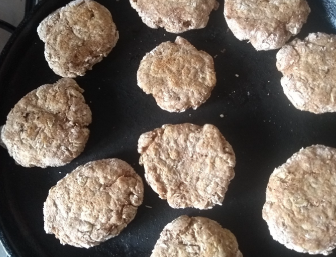 baked oatcakes in a cast iron pan