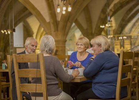 Visitors having lunch in the Undercroft Restaurant
