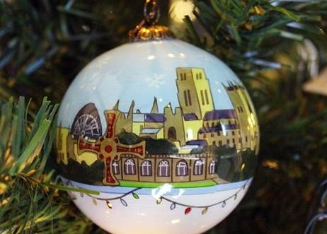Durham Cathedral Glass Christmas Bauble